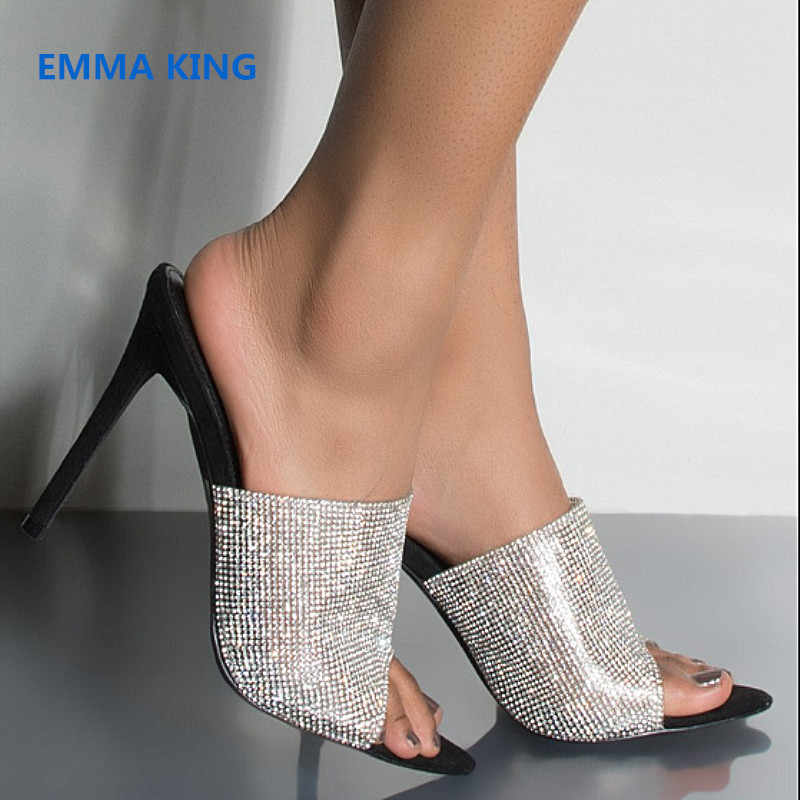 bf6f3dbe7270 Bling Rhinestone Mules High Heels Shoes Woman Fashion Slippers Open Toe  Stilettos Roman Sandals Summer Party