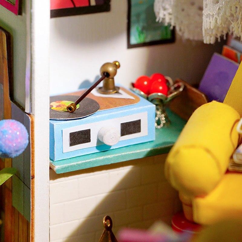 Bricolage maison jouet ensemble en bois cabine 3D Puzzle Cottage assemblé jouets décoration de la maison S7JN
