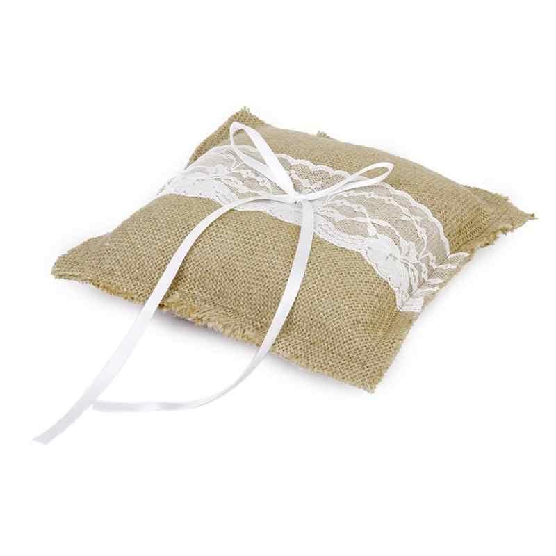 20*20cm Retro Bridal Wedding Ceremony Pocket Ring Bearer Pillow Cushion With Satin Ribbons