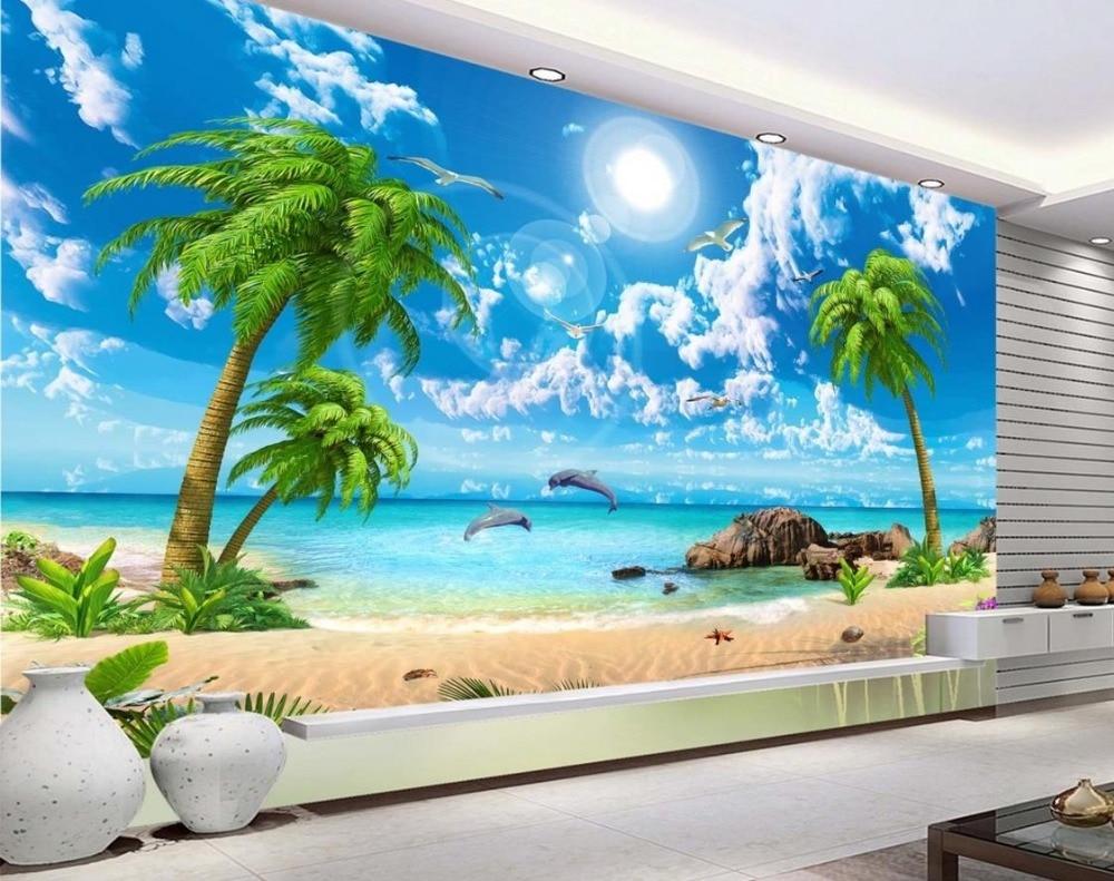 Hd Coconut Tree Seaside Landscape Nature Wallpaper Living: AliExpress.comの 壁紙 からの 壁紙風景壁用カスタム3dの背景壁紙シー