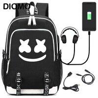 DIMOM 2019 American mystery DJ Marshmello school bag Trendy usb laptop backpack for girls boys teenagers children's cool bookbag