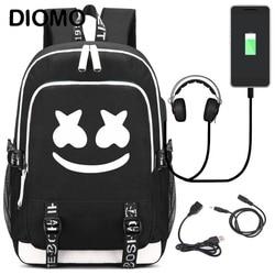 DIMOM Marshmello school bag 2019 American mystery DJ Trendy usb laptop backpack for girls boys teenagers children's cool bookbag