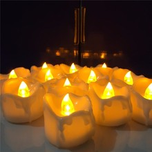 6pcs Yellow Flicker Battery Candles Plastic Led Candles Flameless Night light For Christmas Halloween Wedding Decoration WNL004