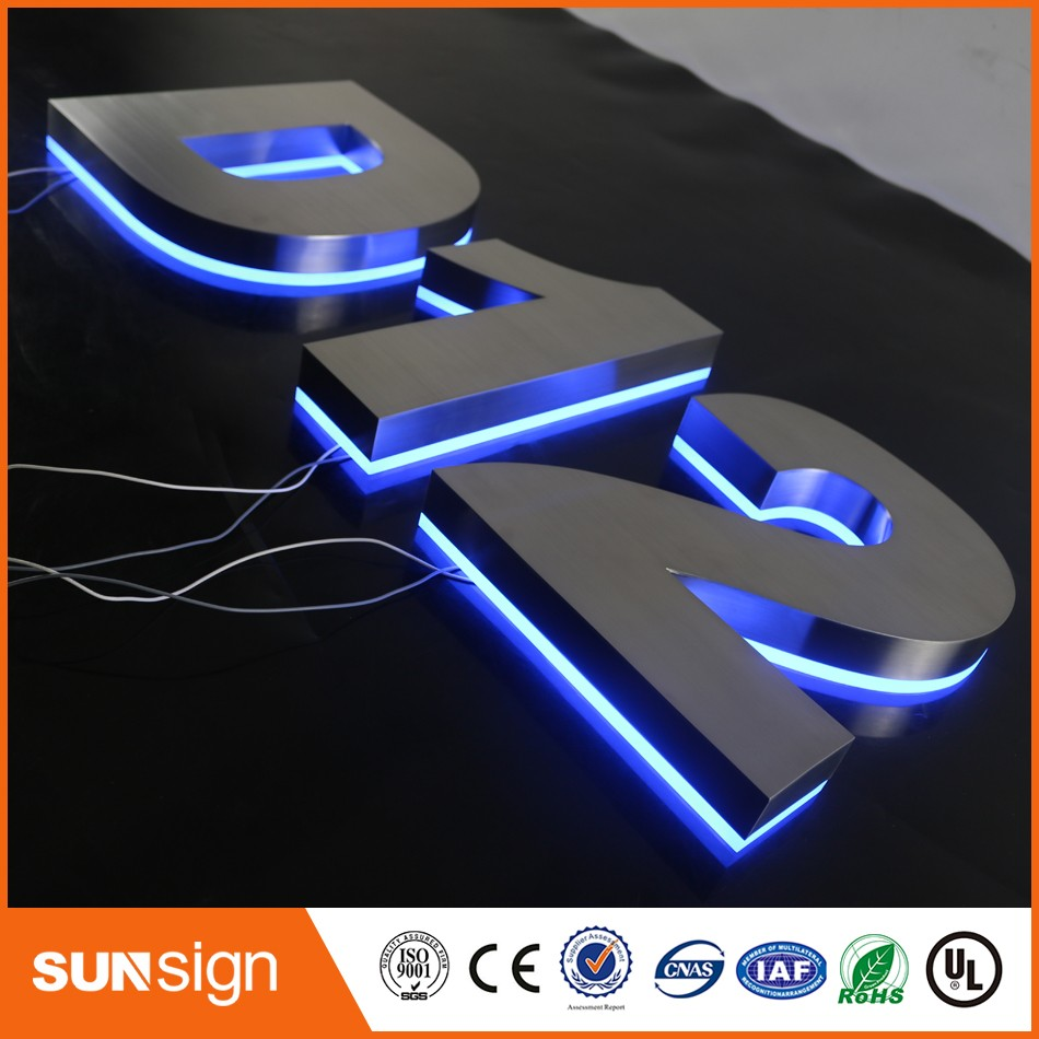 LED Illuminated Sign Alphabet Letters Backlit Stainless Steel Letters