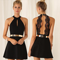 2016 новые моды для женщин спинки сексуальное платье белое и черное кружево платья без рукавов тонкий вскользь платье мини С-608