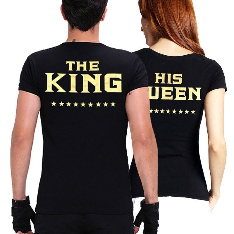 KING QUEEN Pár ruházati levél nyomtatás póló női póló férfi szerelmesek Valentin fekete nyári rövid ujjú nyak alkalmi felső