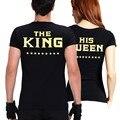 Rey reina par ropa carta impresión T camisa mujer T camisa los hombres de amantes San Valentín verano negro de manga corta cuello en O casual Tops