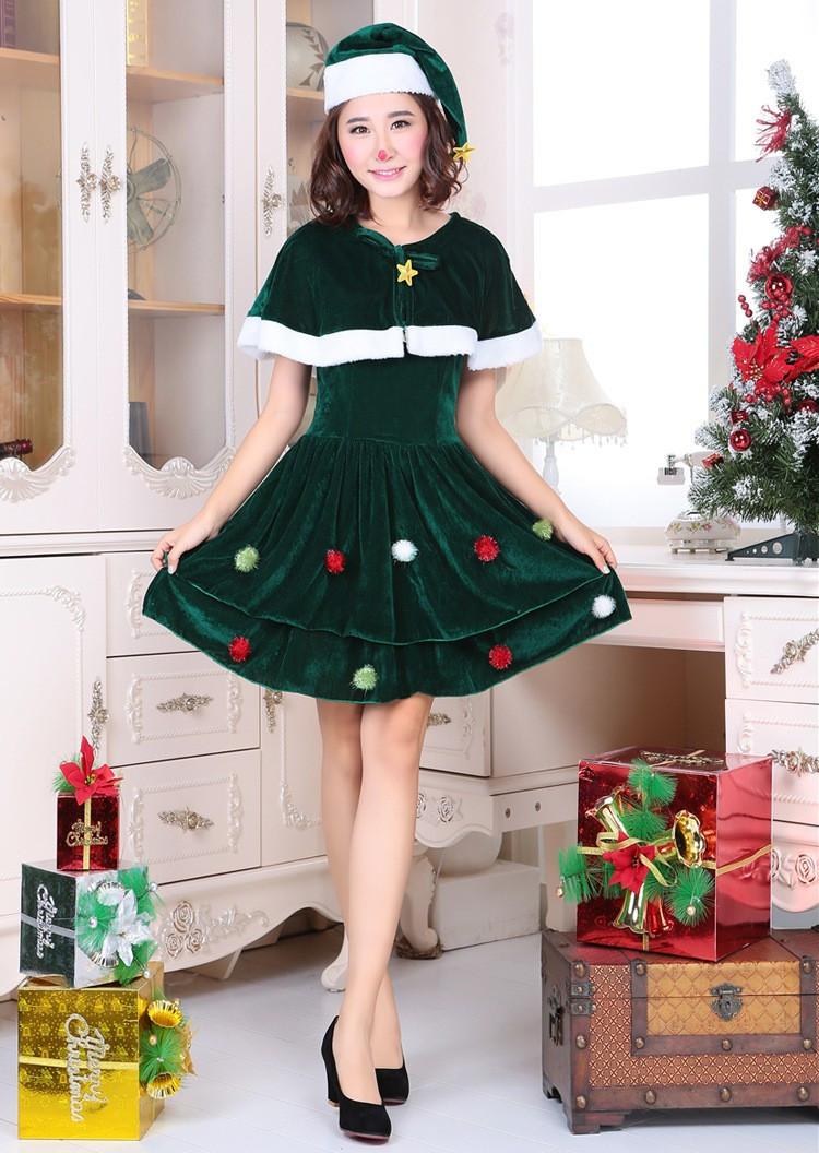 6fc5d50b5876 Adult Women Cosplay Santa Claus Costume Kawaii Girls' Dress Green Christmas  Tree Female Celebrate Party Show Elegant Xmas Dress