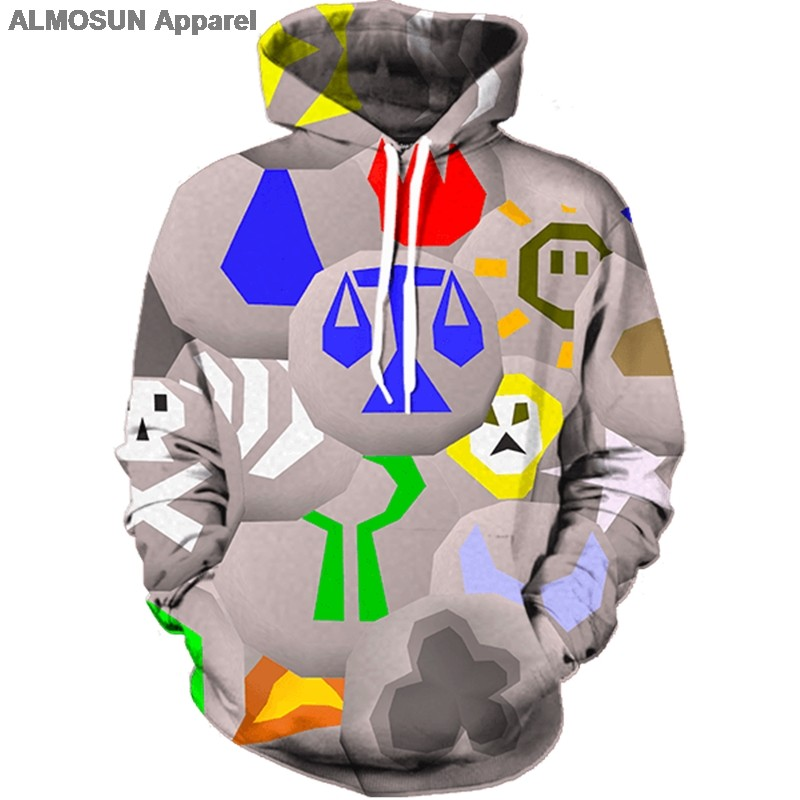 ALMOSUN Runescape Runes 3D All Over Printed Hoodies Pockets Sweatshirt  Hipster Street Wear Top Men Women US Size 47b5e8802