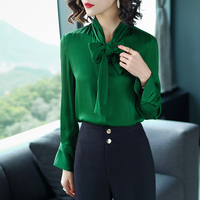 Твердые 100% шелк женская рубашка с длинными рукавами воротник бант зеленая рубашка леди Повседневное Формальные шелковая блузка Весна осен