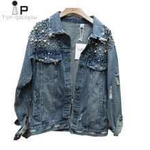 e306c4ba2ea Vintage Autumn Winter Denim Jacket For Women 2018 Korean Fashion Loose  Female Beading Coat Womens Harajuku Jeans Ladies Jacket