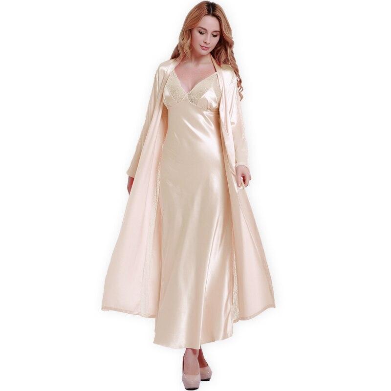 Новые Модные Шелковые халаты + ночная рубашка из двух частей Для женщин пижамы сексуальные кружева v-образным вырезом спальный халат с длинн...