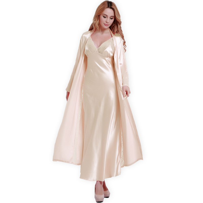 Fashion New Silk Robes + Nightdress Two-Piece Women Sleepwear Sexy Lace V-Neck Sleeping Robe Long-Sleeve Nightgowns FW001