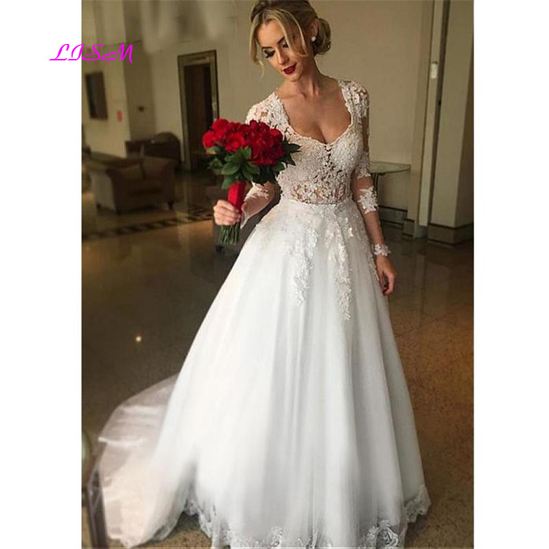 Vestido de noiva Long Sleeves Wedding Dresses 2019 Elegant Illusion Back Lace Appliques Women Tulle Bridal Gowns robe mariee