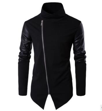 2019 New Spring Men Cotton Warm Slim Hoodies Leather Stitching Clothes Solid Color Sweatshirts Stand Collar Outerwear Tops