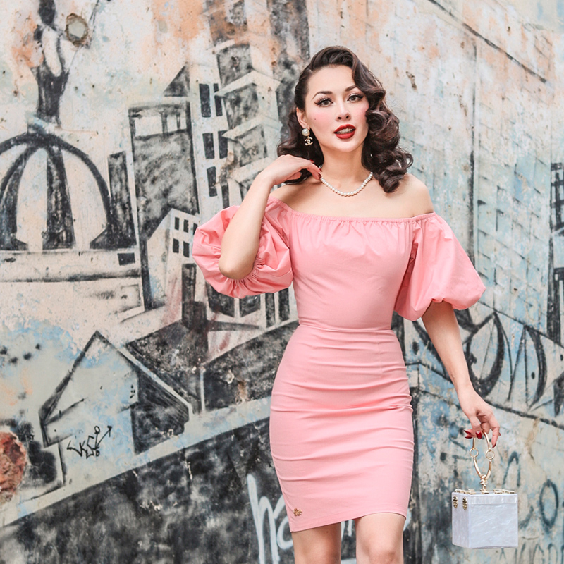 Le Palais Vintage 2018 Spring Vintage Slash Neck Puff Sleeve Dress Slim High Rise Elegant Sweet Color Dress by Le Palais Vintage