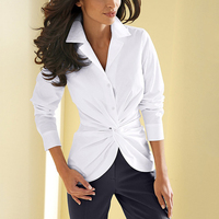 Fashion Women Blouses Sexy Pleated Button Long Sleeve Shirt Women Plus Size XXXL Blouse Casual Slim