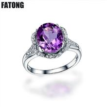 Brazilian amethyst jewelry 925 sterling silver Europe and the United States new live ring female J016