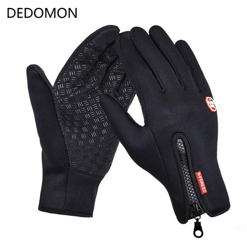 Outdoor Sports Waterproof Hiking Winter Bicycle Bike Cycling Gloves For Men Women Windstopper Simulated Leather Soft Warm Gloves