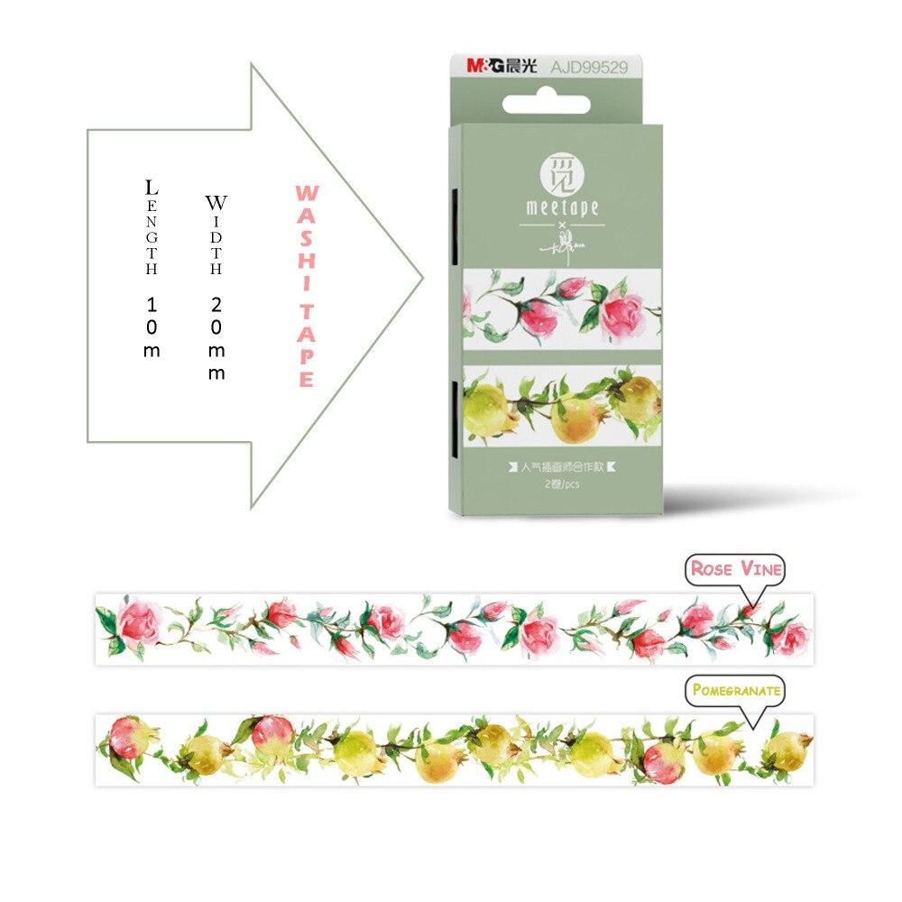 2 Rolls Pack Washitape Rose Vine And Pomegranate Design Craft Tape