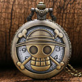 Hot Japanese Animation One Piece Them Hollow Skull Design Quartz Pocket Watch With Necklace Chain Free Shipping