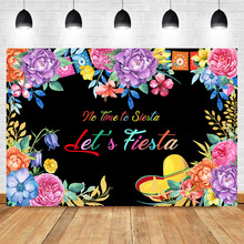 NeoBack Mexican Fiesta Theme Backdrop Summer Flower Newborn Baby Shower Background Photography Mexico Birthday Party Backdrops
