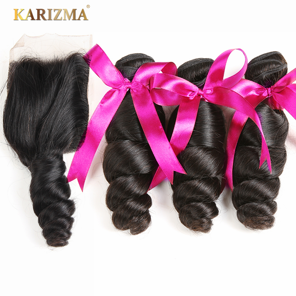 Brazilian Hair Bundles With Closure Karizma Loose Wave With Lace Closure Non Remy Hair Extension Natural