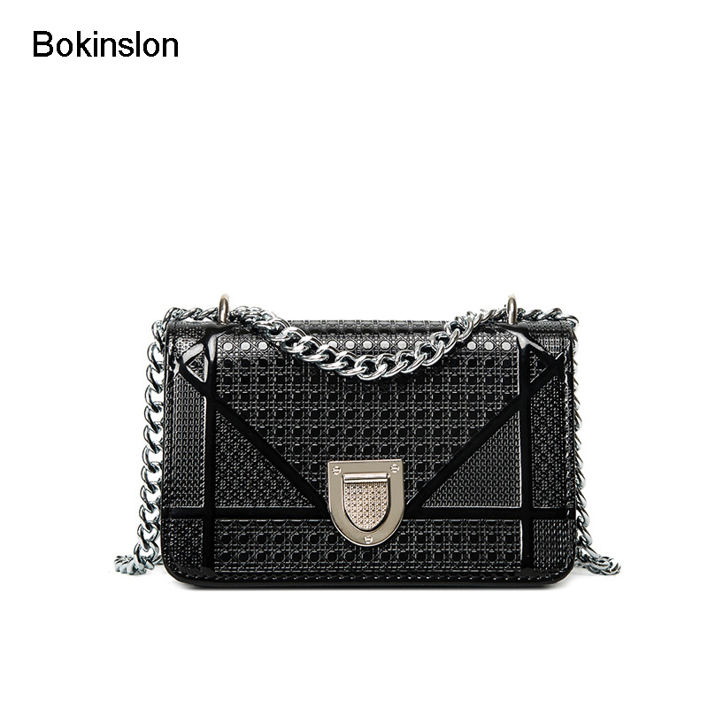 Bokinslon Women Handbags PU Leather Fashion Lady Small Square Bags Solid Color Popular Handbags Women Bags