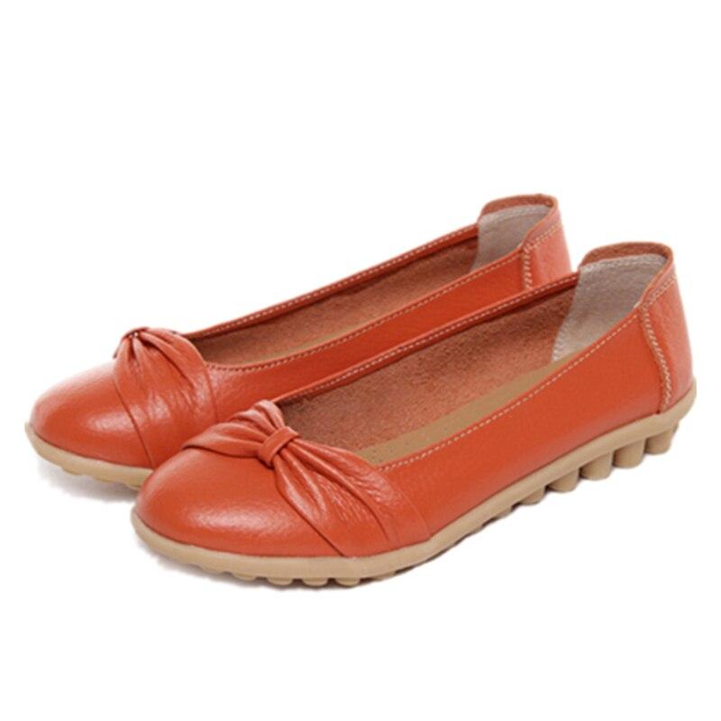blanc Rond Véritable Ballerines Infirmière En Bout Femmes Plardin Chaussures Noir orange Peu Nouveau Mocassins Richelieus jaune Cuir Profonde Plate 1wT7EH