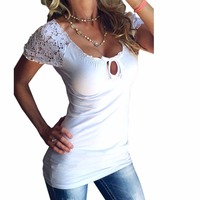 Summer TShirts 2017 Women Hollow Out Lace T Shirts Sexy Tops Slim Short Sleeve White Black