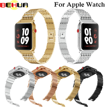 Stainless Steel Strap For Apple Watch Band with Rhinestone 38mm/42mm Smart Watch Metal Band for iWatch Series 3 2 1 Strap Belt цена и фото