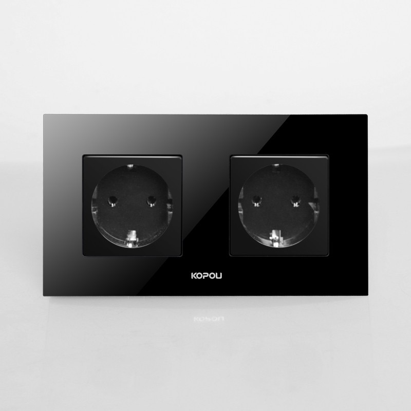 Free shipping , EU Double Power Socket Schuko, Black Crystal Glass Panel, 16A EU Standard Wall Outlet KP002EU-B