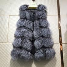 Winter Real Fox Fur Vest Natural Fox Fur Vest Gilet Women Covered Button Design Jackets Coat Plus Size M-3XL Overcoats