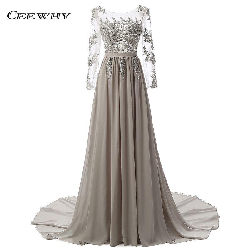 CEEWHY Lantai Panjang Buka Kembali Evening Dress Bordir Prom Dresses Lengan Panjang Gaun Malam Muslim Beaded Robe de Soiree