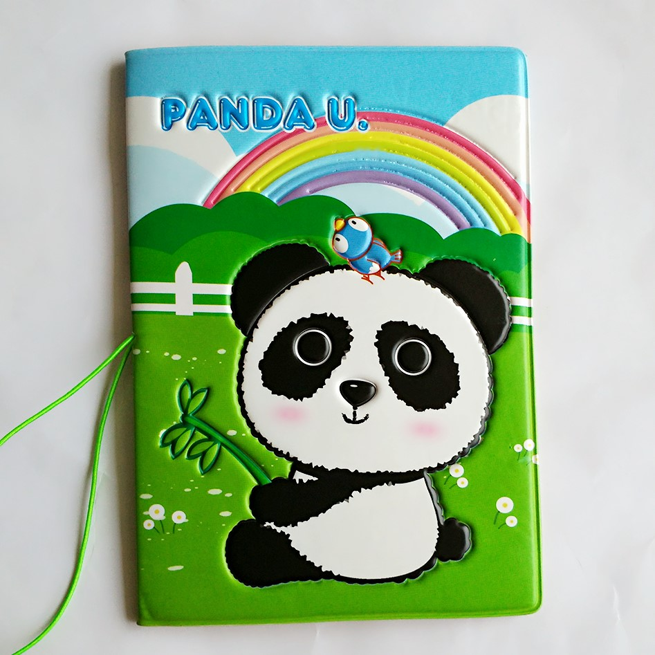 The Rainbow on the grass under the pandas eat bamboo Passport Holder,Green PVC Leather Travel Passport Cover 3D Design 14*10CM