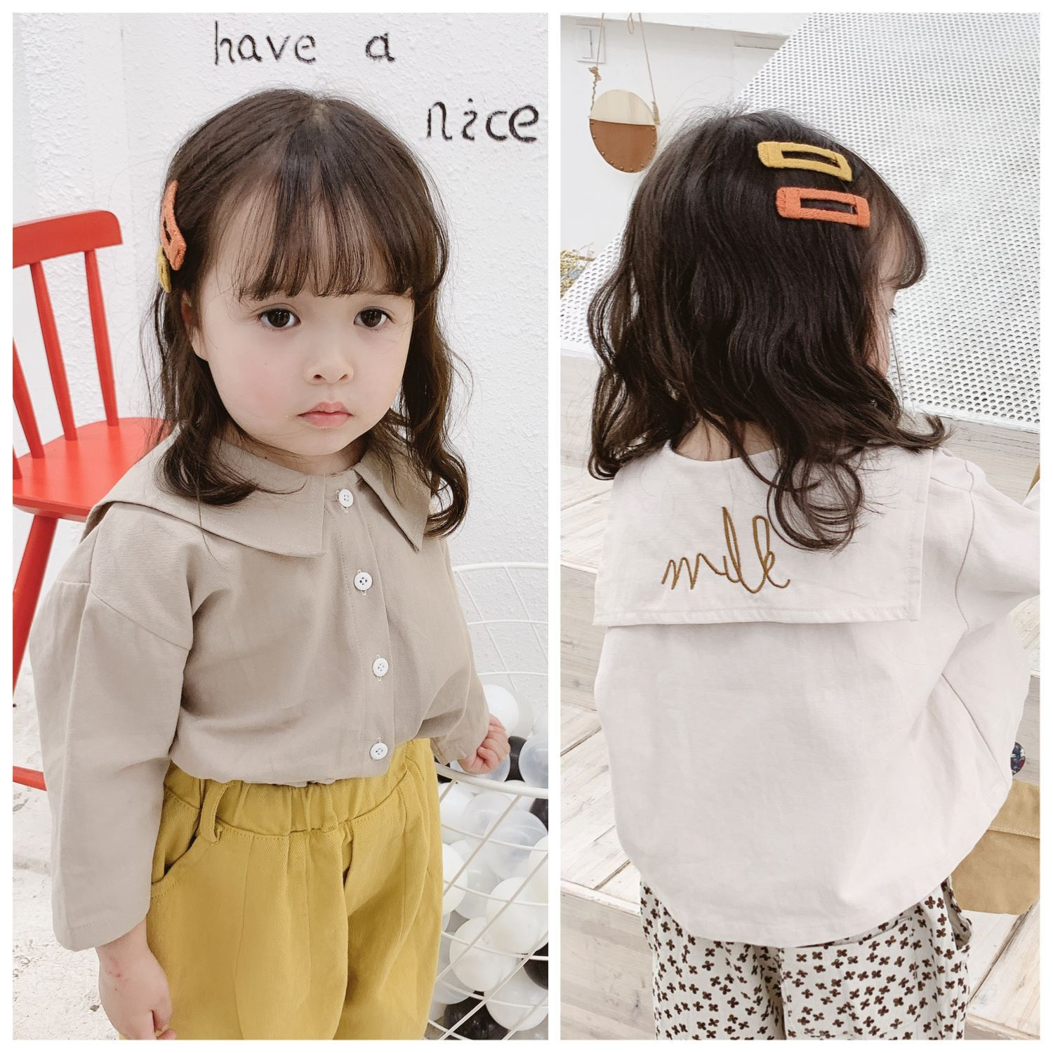 Spring 2019 New Kids Korean Cotton Embroidered Big Turn-collar Shirt 19017 Girls Long Sleeve BlouseSpring 2019 New Kids Korean Cotton Embroidered Big Turn-collar Shirt 19017 Girls Long Sleeve Blouse