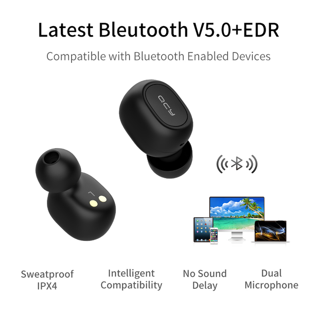 QCY QS1 T1C Mini Dual V5.0 Wireless Earphones Bluetooth Earphones 3D Stereo Sound Earbuds with Dual Microphone and Charging box Audio Audio Electronics Electronics Head phone Headphones & Headsets color: Black White