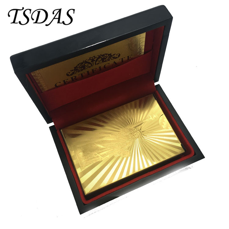 Pure 24K Gold Foil Playing Cards With The Statue of Liberty Design, Golden Poker Cards With Wooden Box & Certificate