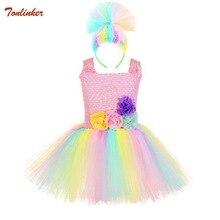 2-9 Years Troll Tutu Dress Baby Girls Tulle Princess Kids Halloween Cosplay Costume Festival Birthday Party Cartoon
