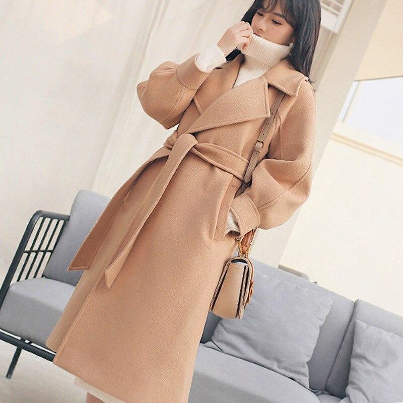 Ladies Women Sleeve Femme Coat Casual Long Outwear caramel Woherb Elegant Thick Beige Winter Coats 20505 Lantern Solid 2019 pink Bandage camel Jacket XfSaqaw7