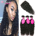 Malaysian Deep Wave With Closure 3 Bundles Malaysian Deep Wave Virgin Hair With Closure Wavy Curly Weave With Closure Human Hair
