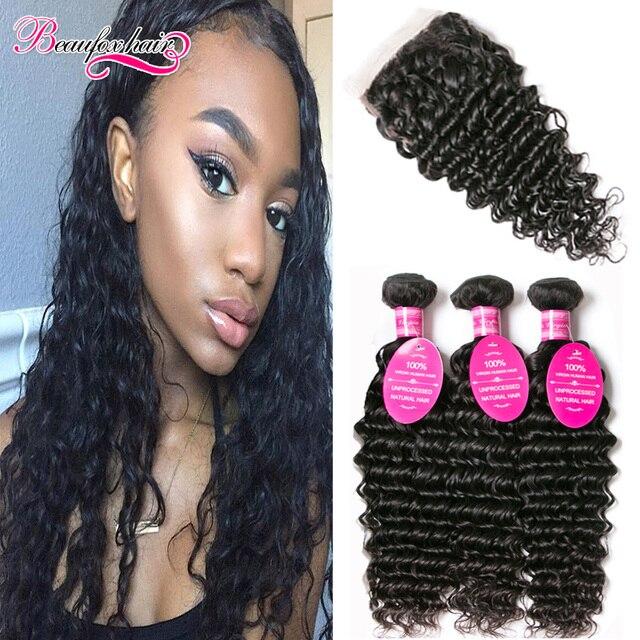 Malaysian Deep Wave With Closure 3 Bundles Malaysian Deep Wave Virgin Hair With Closure Wavy Curly Weave With Closure Human Hair