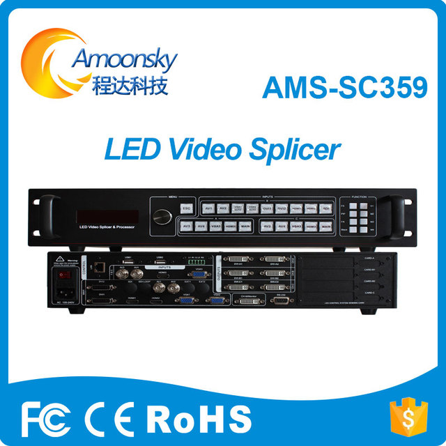giant led screen usage AMS-SC359 support open 3 window three view splicing led video processor hdmi video wall controller