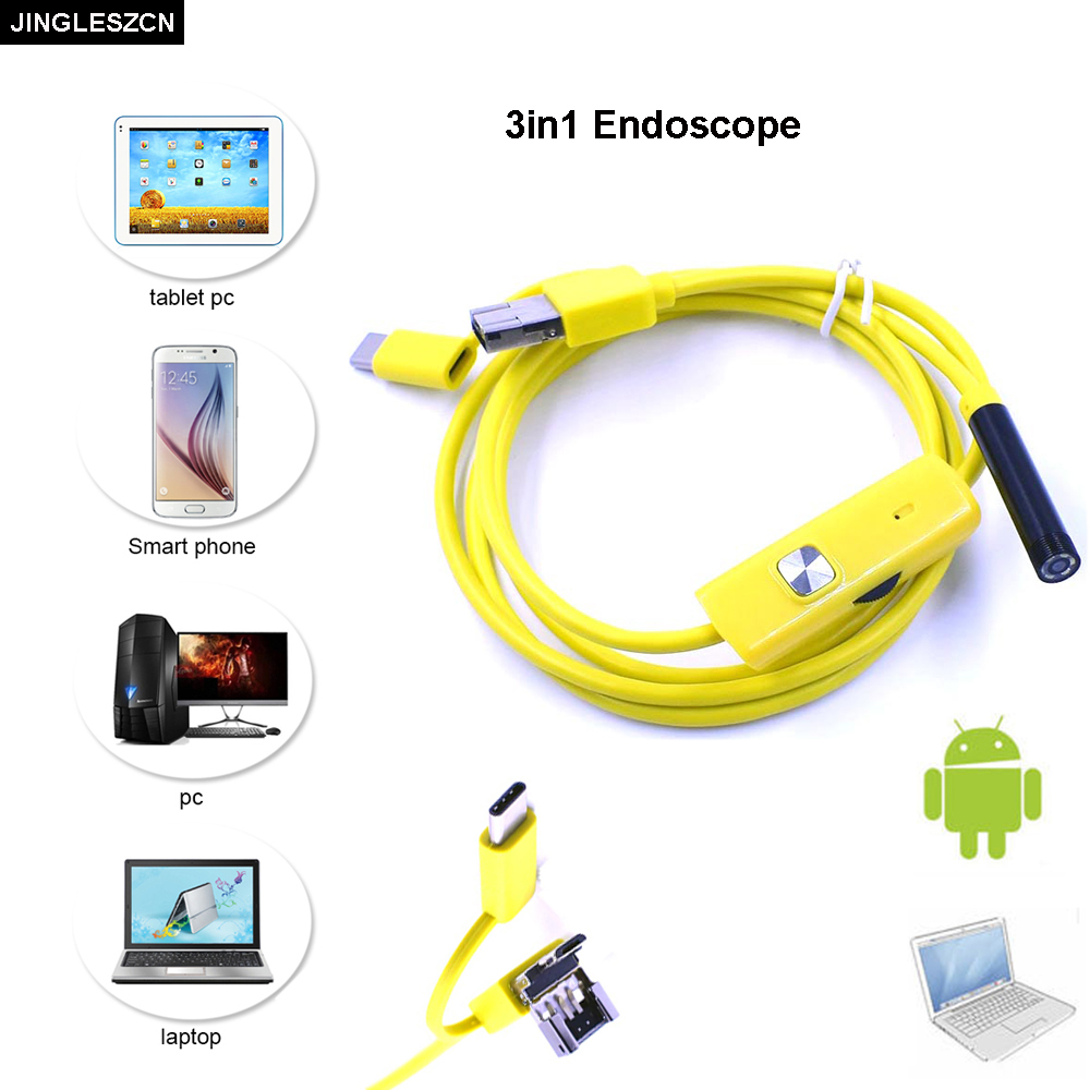JINGLESZCN 3 in 1 USB Endoscope Camera Inspection Borescop 7mm Lens 1M 1.5M 2M 3.5M 5M 10M Waterproof IP67 Snake Cam Android PC