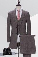 Последние конструкции пальто брюки серый Твид Вечерние Нарядные Костюмы для свадьбы для Для мужчин длинные Жених дружки Пользовательские