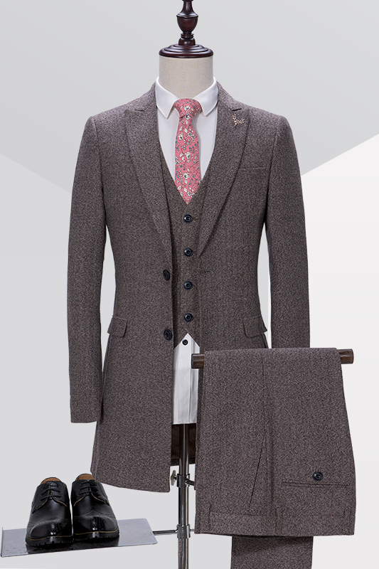 Latest Coat Pant Designs Grey Tweed Formal Wedding Suits For Men Long Bridegroom Groomsman ...