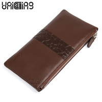 Fashion European and American Style genuine leather men clutch wallet stylish men's long leather wallet