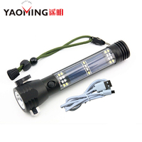 4000LM Cree XHP 70 Solar Powered Flashlight USB Power Bank High Power Tactical Flashlight Out SOS Self help Light