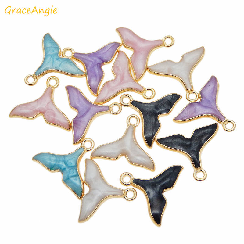 GraceAngie 10pcs 17 15mm Gold Base Mermaid Tail Charms Mix Color Enamel Pendants For Necklace Accessories Bracelet DIY Accessory in Charms from Jewelry Accessories