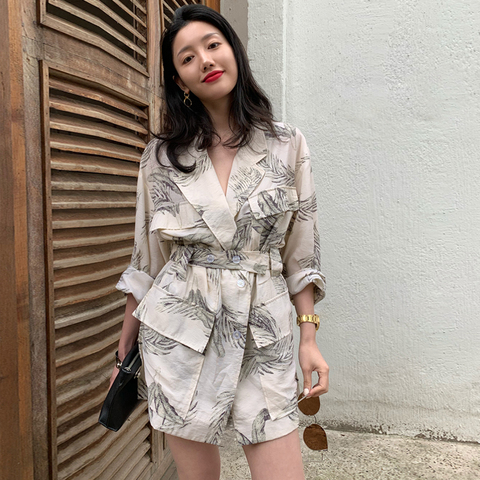 Women summer thin  print blazer with belt blazer 2019 Casual Suits Pakistan